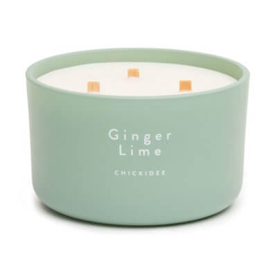 Ginger Lime Scented Glass 3 Wick Candle