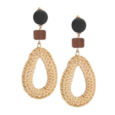 Woven Oval Drop Earrings