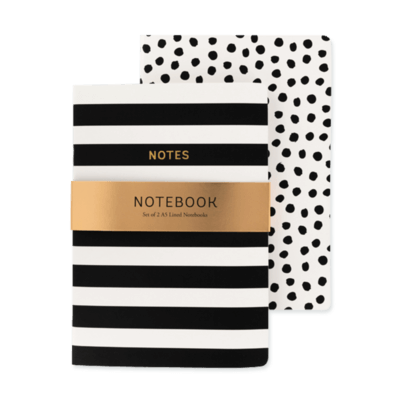 Monochrome A5 notebooks 2pk