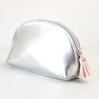 Silver Half Moon Cosmetic Bag
