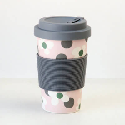 Floral Spot Bamboo Reusable Coffee Cup
