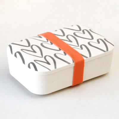 Outline Hearts Bamboo Lunch Box