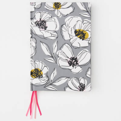 Grey Floral Multi Ribbon Journal Notebook