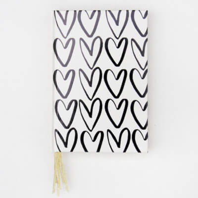 Outline Hearts Multi Ribbon Journal Notebook