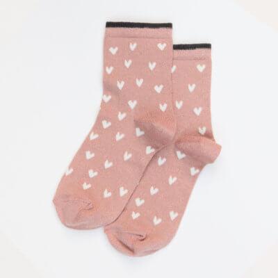 Pink Metallic Hearts Socks