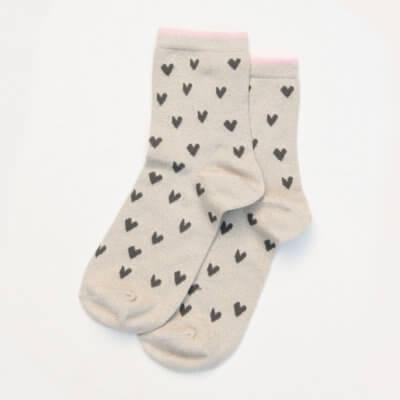 Oatmeal Metallic Hearts Socks