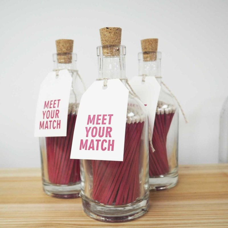 Luxury Bottled Matches - Bright Pink