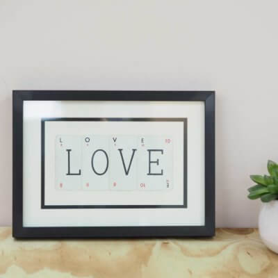 'Love' Frame - Vintage Playing Cards