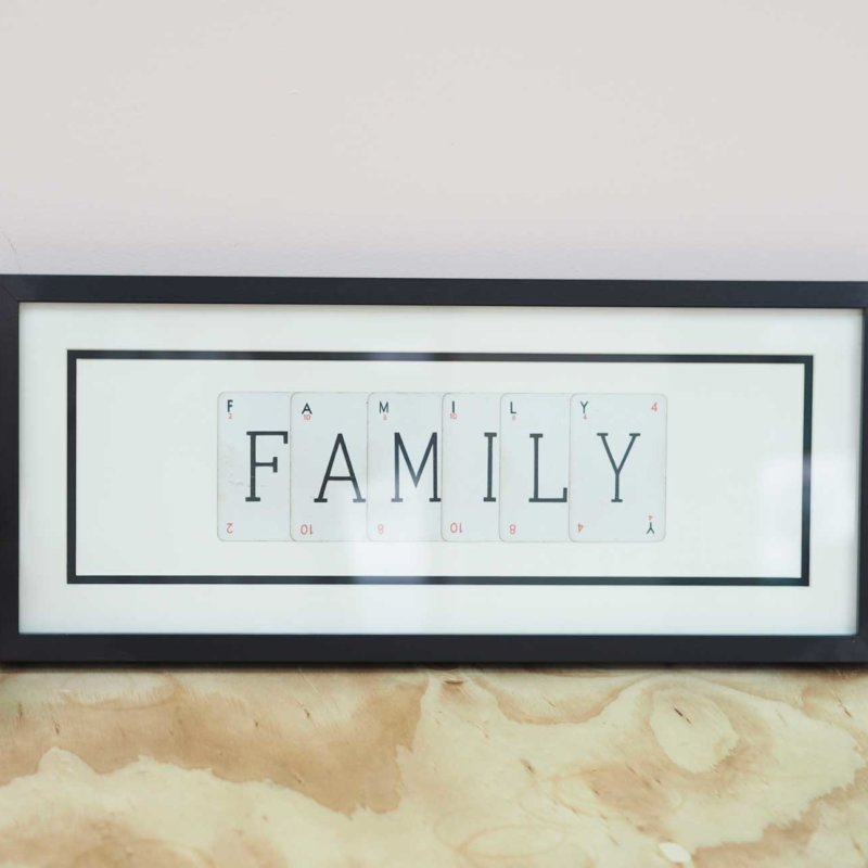 'Family' Frame - Vintage Playing Cards