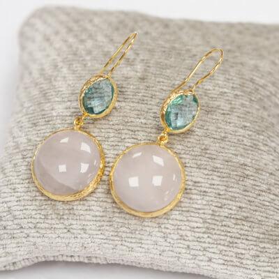 Aqua & Rose Droplet Earrings