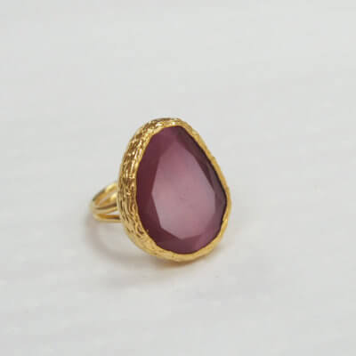 Large Glass Cocktail Ring