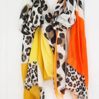 Leopard print colour block scarf