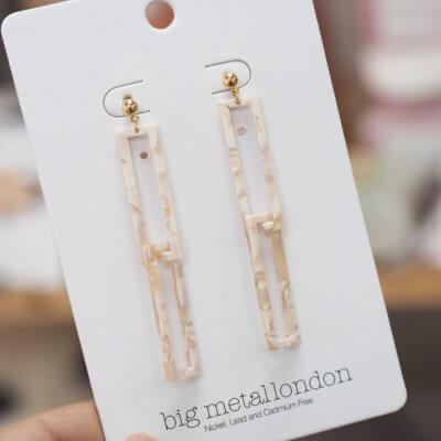 Pink Rectangular Drop Earrings