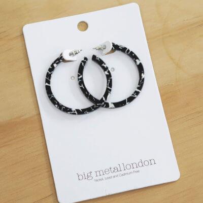 Black & White Resin Hoop Earrings