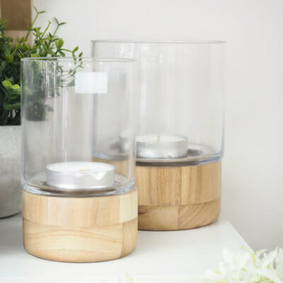 Wooden Base Hurricane Vase