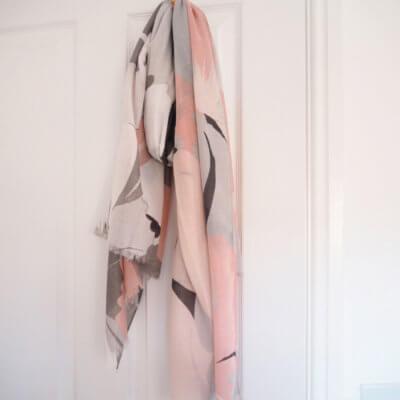 Grey & Pink Floral Scarf