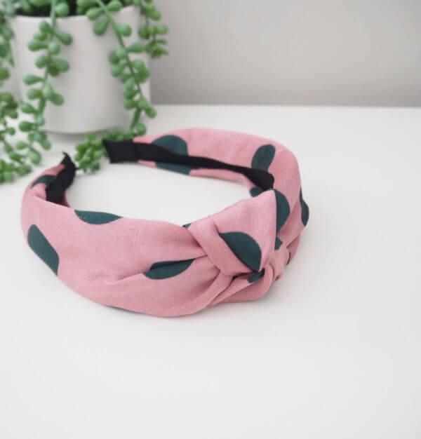 Pink & Khaki Spot Headband