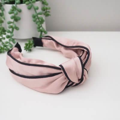 Pink Satin Twist Knot Headband