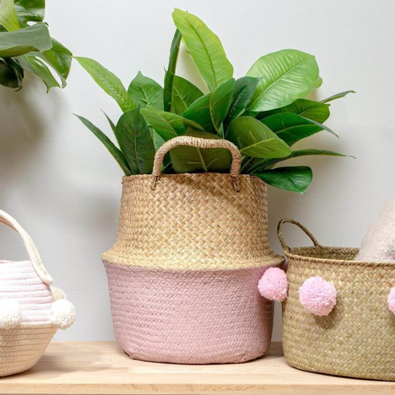 Pink Seagrass Basket with Handles