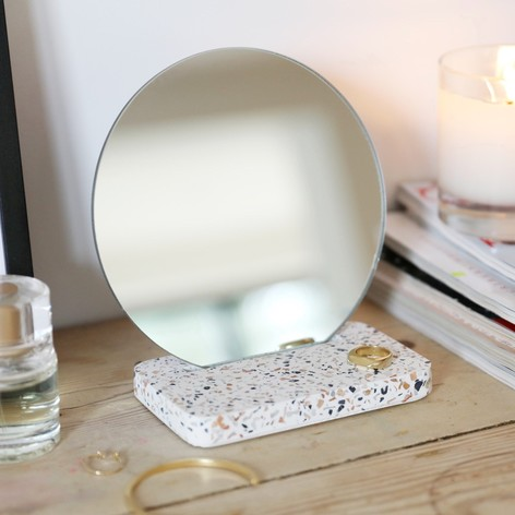 Round Mirror with Terrazzo Base