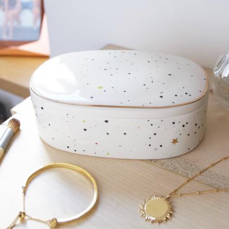 Speckled Stars Oval Trinket Box