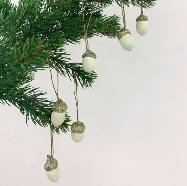 Glittery Acorn baubles