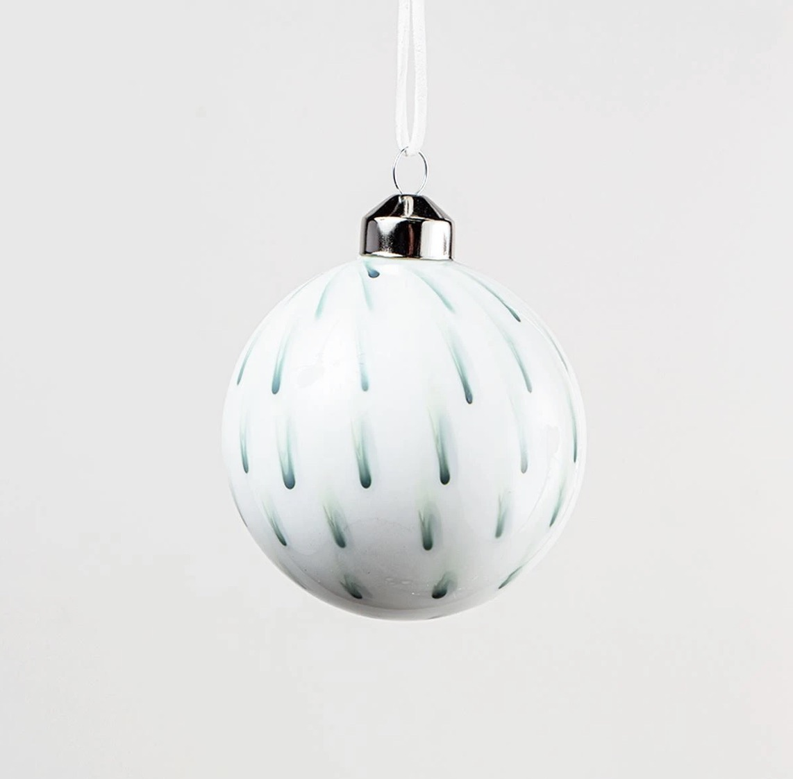 White & Green Glass Bauble - Set of 3