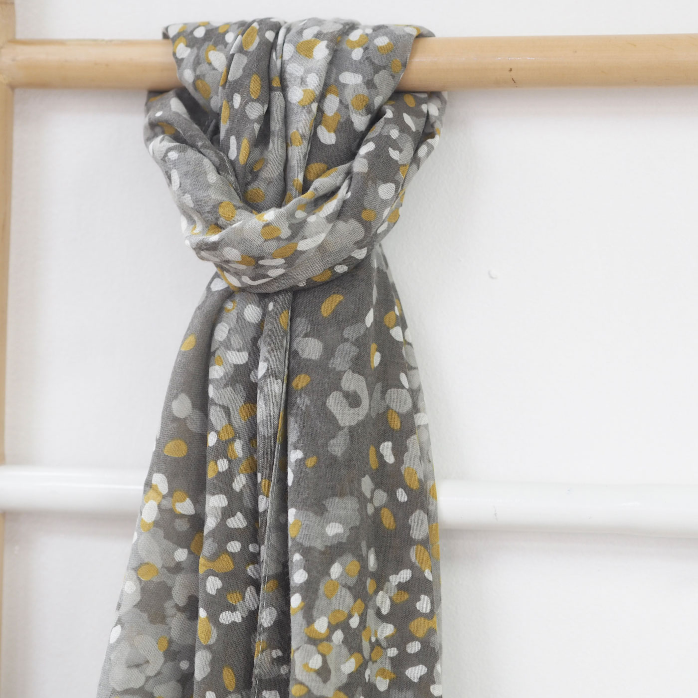 Mustard and Grey Abstract Animal Print Scarf