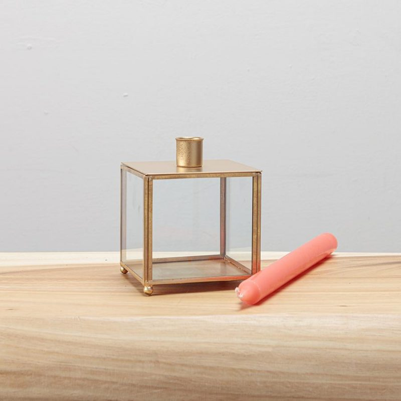 Gold Wire Tapered Candle Holder