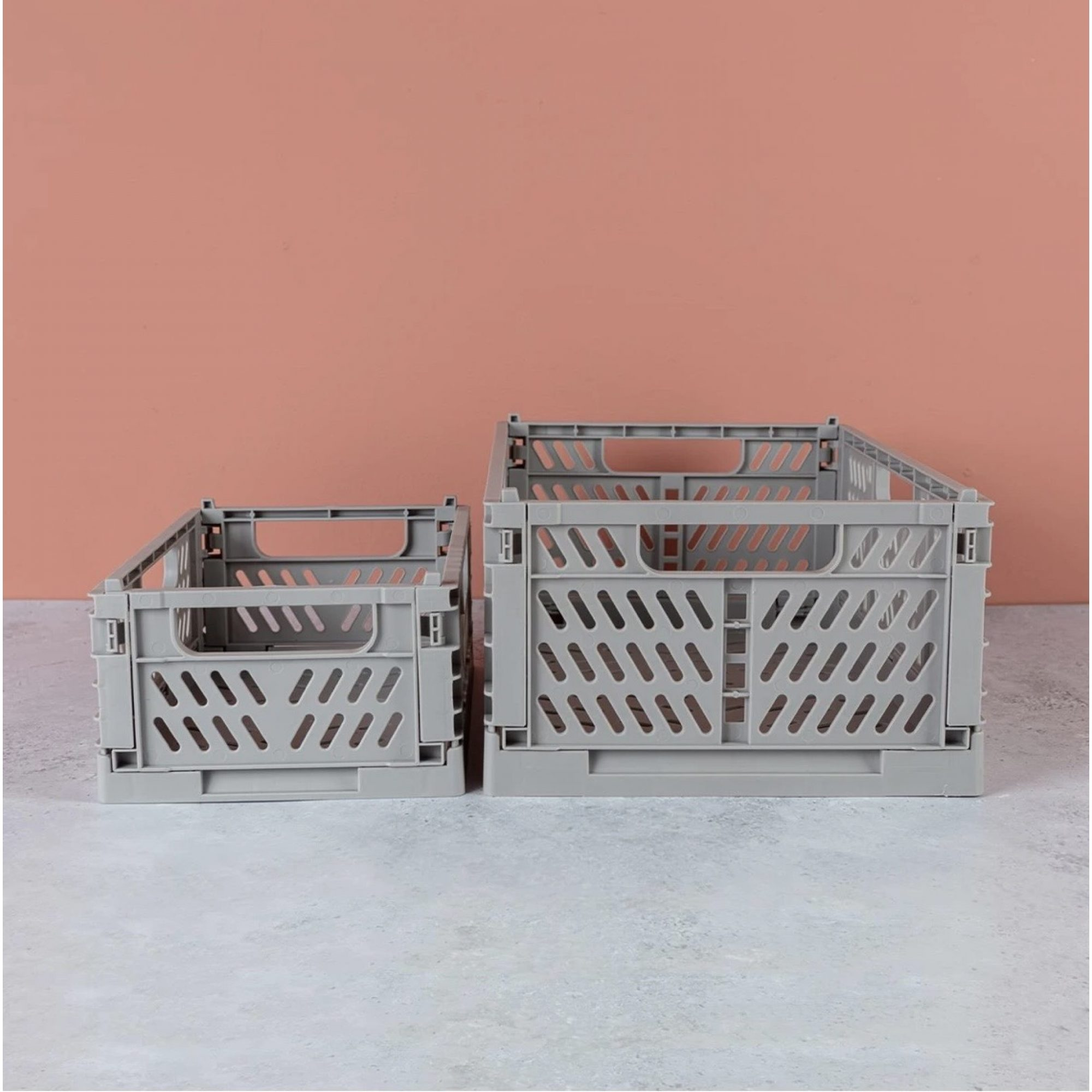 Grey Folding Storage Crate