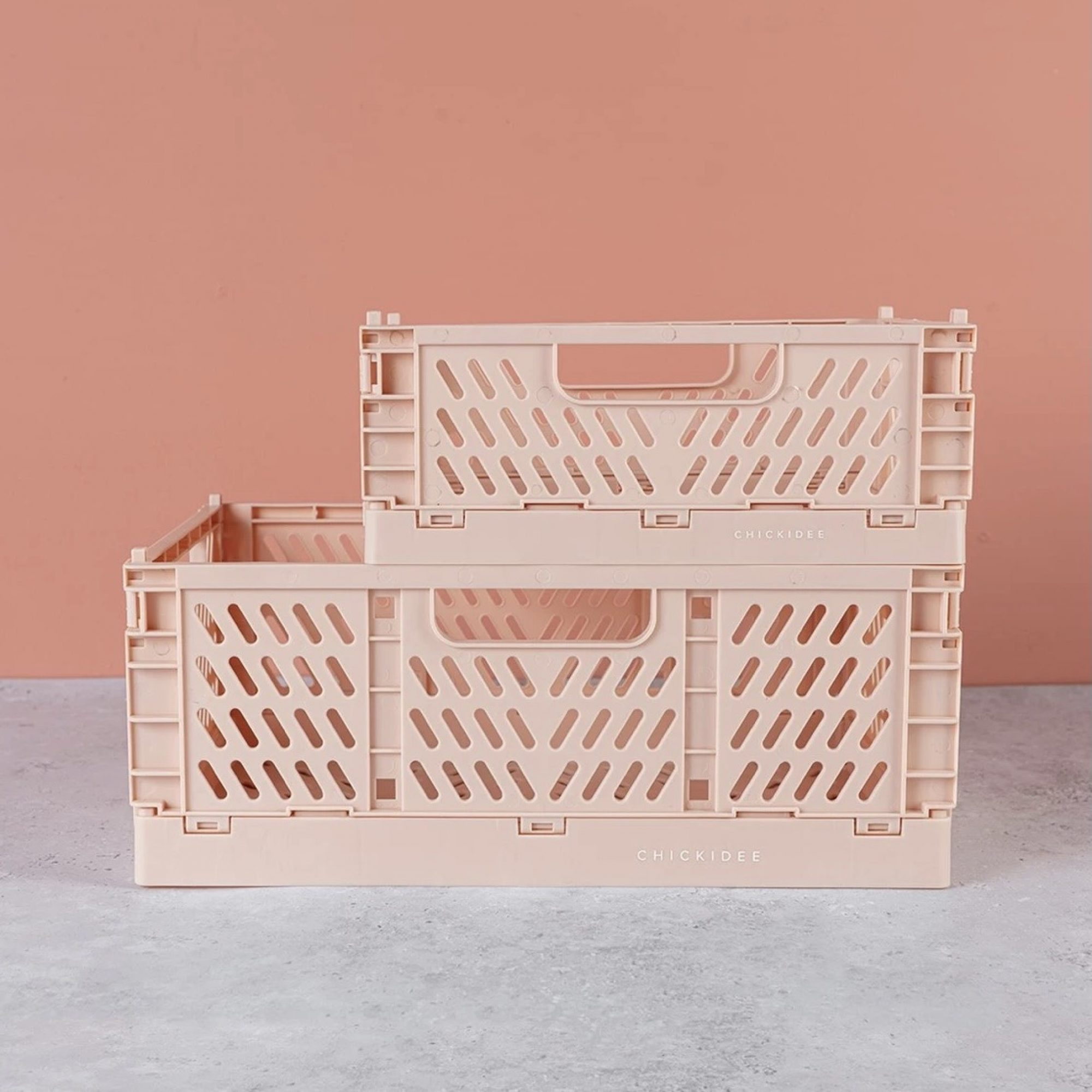 Pink Folding Storage Crate