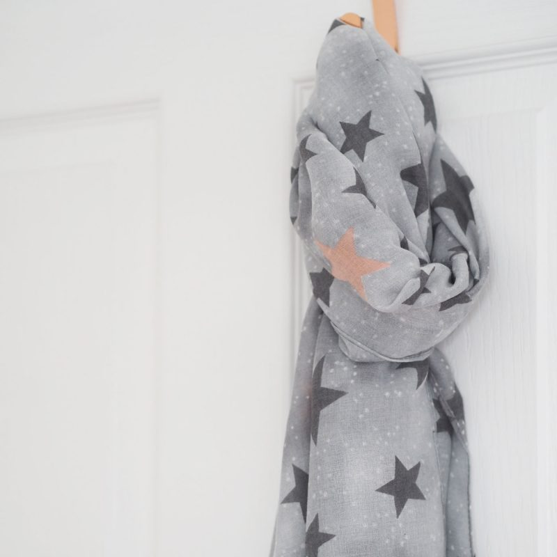 Grey and Pink Star Scarf