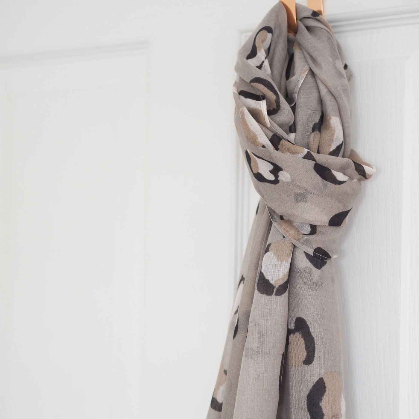 Neutral Abstract Leopard Print Scarf