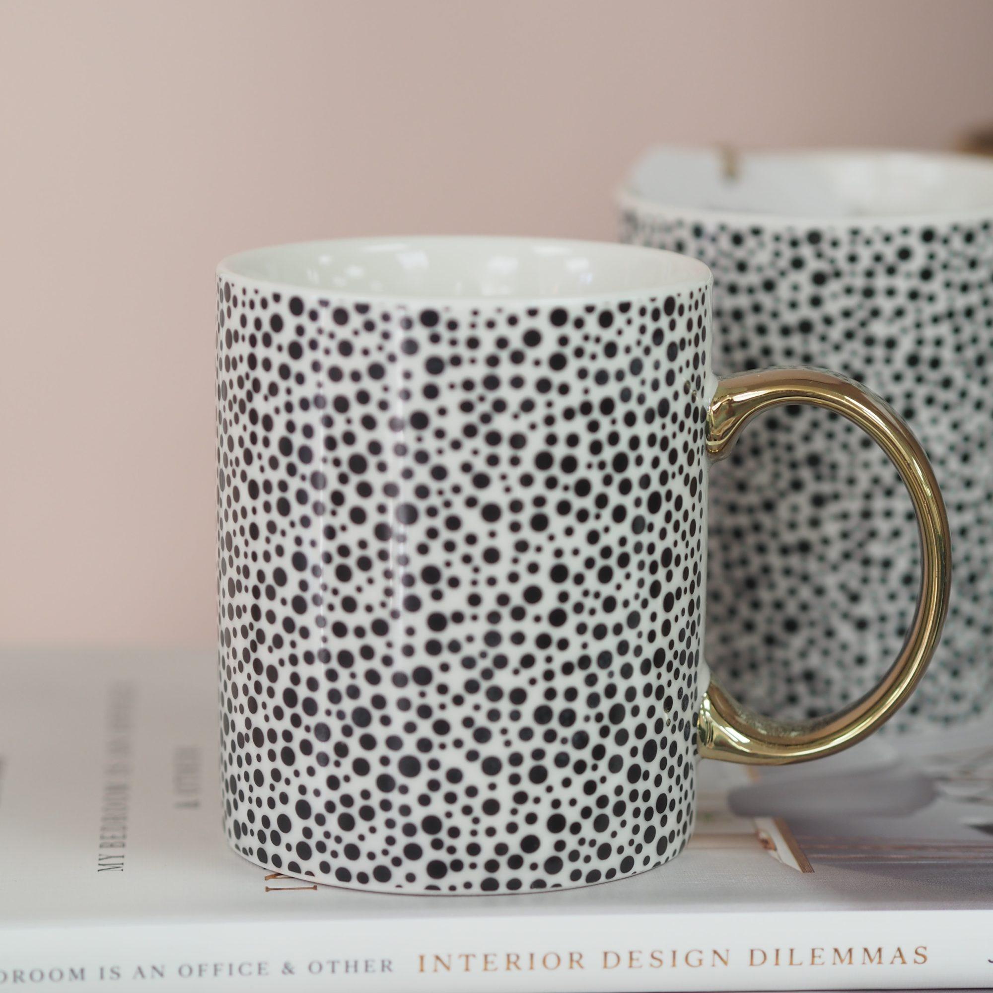 Monochrome & Gold Pattern Mugs