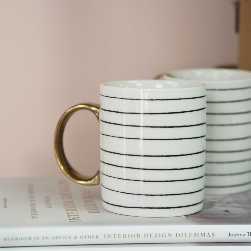Monochrome & Gold Pattern Mugs