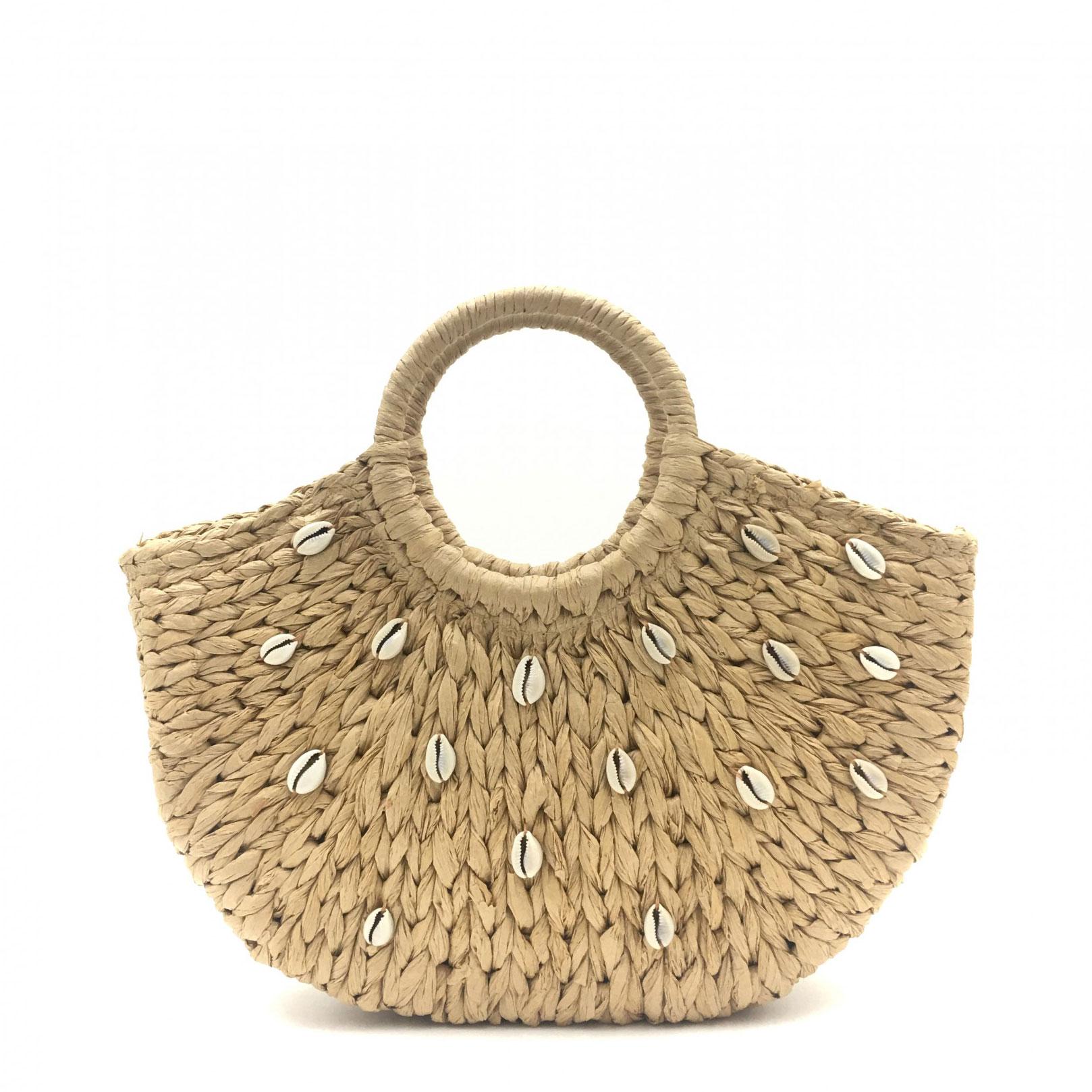 Straw Round Handle Bag