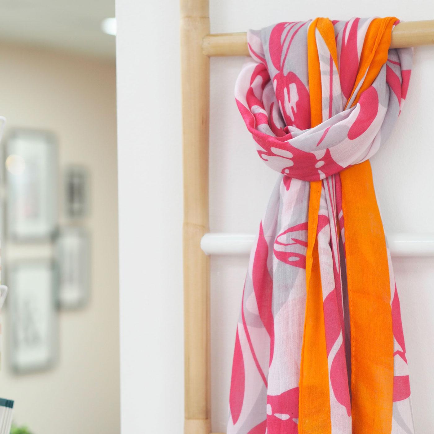 Pink & Orange Floral Scarf
