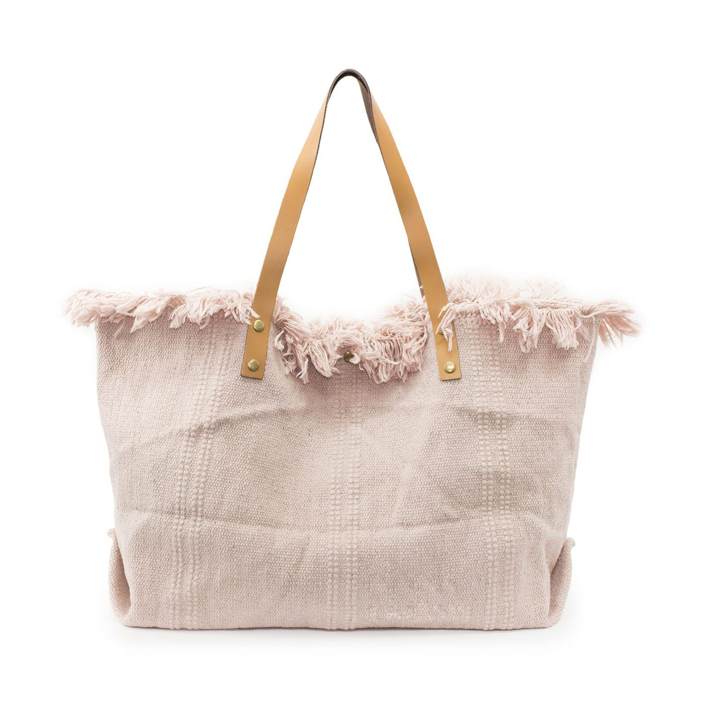 Frayed Edge Canvas Tote - Pink