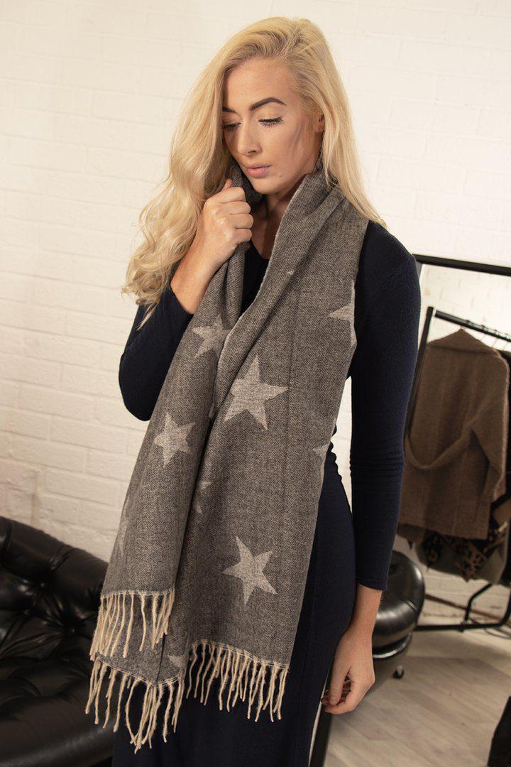 Grey Star Tassel Scarf
