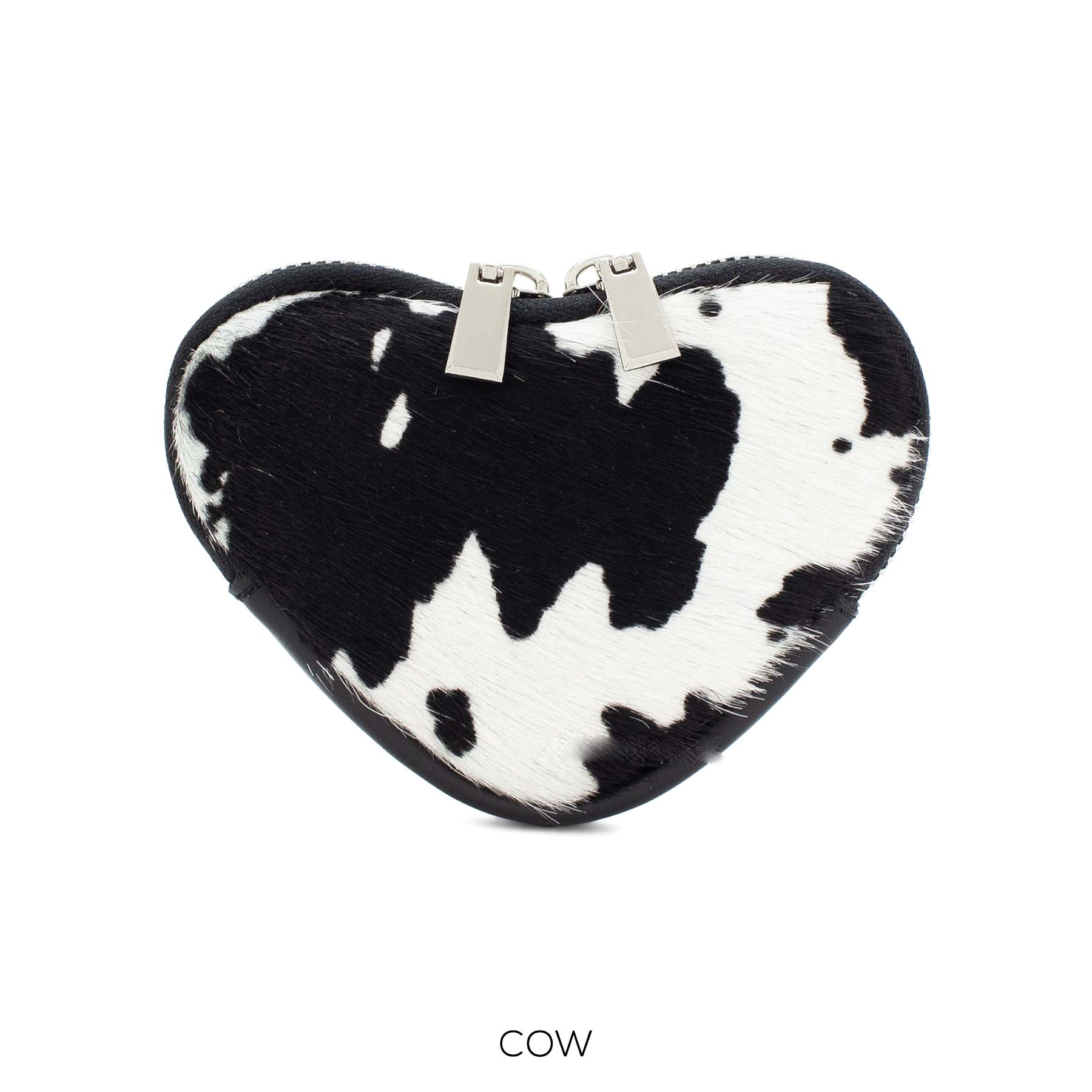 Cow print leather purse