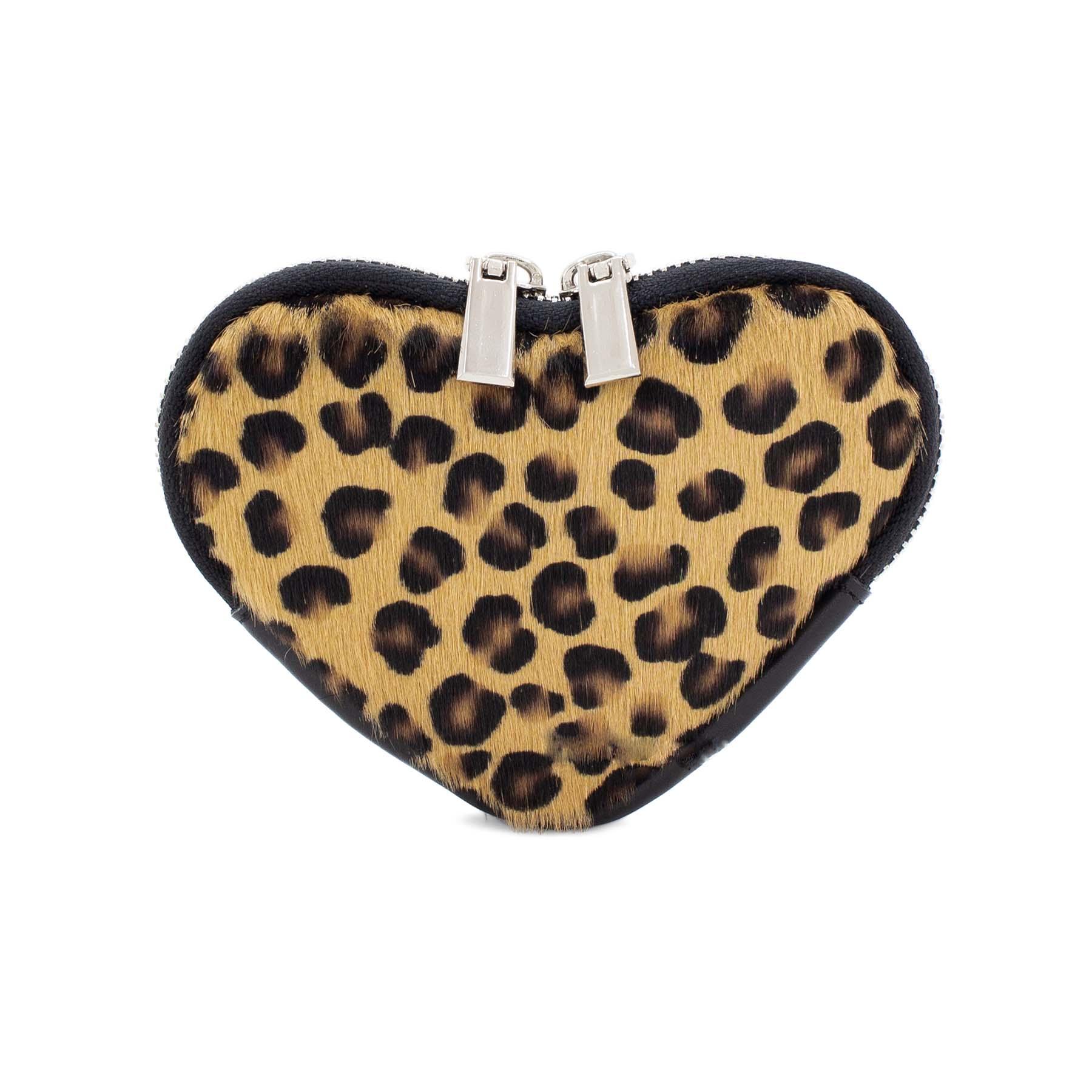 Leopard print heart purse